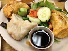 Half Fried and Half Steamed Momos ~ Tibetan Vegetarian Dumplings