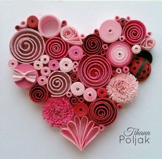 Quilled heart, quilling red rose heart, love quilling, quilled Ladybug, quilling by Tihana Poljak (Diy Paper Hearts) - - Arte Quilling, Paper Quilling Patterns, Quilled Paper Art, Quilling Paper Craft, Paper Crafting, Quilling Ideas, Quilling Flowers Tutorial, Quilling Images, Quilling Letters