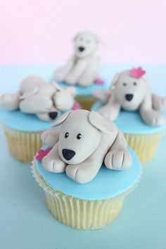 Cupcake Cute Puppy Cupcake for the Special Pups Birthday Bash! Cute Puppy Cupcake for the Special Pups Birthday Bash! Puppy Cupcakes, Animal Cupcakes, Sweet Cupcakes, Cupcake Cookies, Fancy Cakes, Mini Cakes, Dog Cakes, Beautiful Cupcakes, Creative Cakes