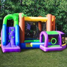 Entertain your little monkey with this inflatable, children's bounce house. Children will love playtime as they crawl through the tunnel to enter the bounce area and glide back outside using the attached slide. This bounce house holds up to 80 pounds.