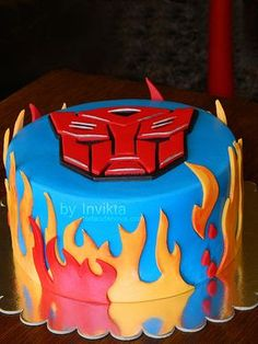 Transformers cake | Love the flames.