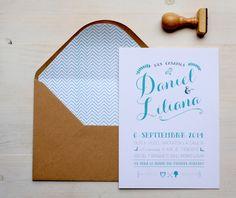 Invitaciones de boda personalizadas para la boda de Daniel & Liliana. #sobreforrado