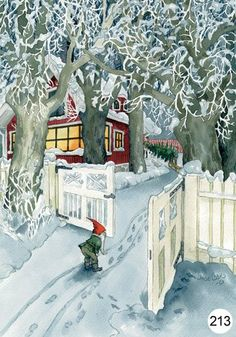 Gnome peeking thru the gate.  Two of my fave things: gnomes and a snowscape.