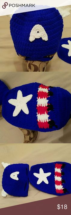 "new crocheted "" Captain America"" outfit how cute Captain America outfit for infant photo shoot homemade Other"