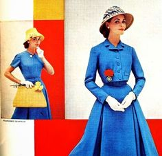 """the Ladies Home Journal, 1956. """"A costume of separates is practical as well as effective. We have chosen a heavy silk with a linen weave in a heavenly shade of blue. The skirt has unpressed pleats front and back; the matching blouse has self facings for detail. The waist length jacket has a high notched collar, covered buttons and two small pockets. The skirt and jacket could be worn with blouses, or the jacket over a printed silk dress."""""""