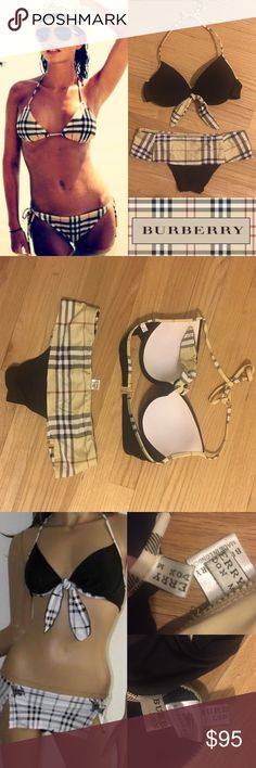 Burberry two piece bikini swim bathing suit FIRM PRICE! Best $ you'll find in this condition! Like new w/out tags!received as a gift n didn't kno it didn't fit until the summer 6 months later.I am listing as a small even though the tag says medium,the bottoms run small.The top (in a full a and the top fits , however I believe will fit up to a small c .. the suit on the manikin isn't the same bottom only using as a reference (the skirt is shorter on mine and a different pattern . Also the…