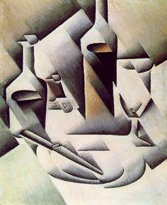 Juan Gris,  Bottles and knife on ArtStack #juan-gris #art