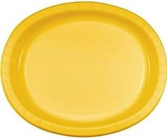 "Amazon.com: Custom & Unique {10"" x 12"" Inch} 8 Count Multi-Pack Set of Big Extra Large Size Oval Disposable Paper Plates w/ Simple Modern Plain Summer Seasonal Event Party ""Bright Yellow Colored"": Kitchen & Dining"