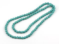 Long Style 10mm Turquoise Beaded Necklace