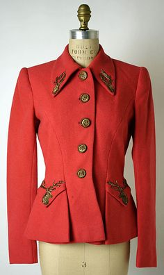 Jacket.  Elsa Schiaparelli  (Italian, 1890–1973).  Date: 1940s. Culture: French. Medium: wool.