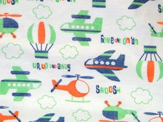 Up Up & Away Flannel Fabric plane helicopter hot by fabricfrantic, $6.50