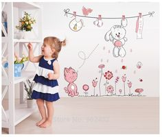 New 2014 Pink Cartoon Cat Drying Clothes Wall Sticker For Baby Girls & Kids Rooms Home Decoration Wall Decals US $6.50
