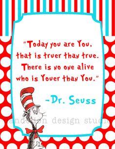 PRINTABLE Youer Than You - 8x10 Digital Art Print - Dr Seuss Party Collection - Dandelion Design Studio on Etsy, $8.50