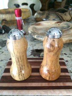 Daniel A. turned his own salt and pepper shakers using Rockler's turning kit. #woodturning