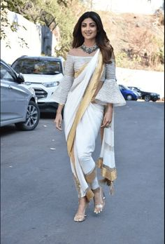 Shilpa Shetty In White And Gold Embellished Draped Dhoti Saree Dhoti Saree, Lehenga, Drape Sarees, Shilpa Shetty Saree, Onam Saree, Saree Wearing Styles, Saree Styles, Indian Designer Outfits, Indian Outfits