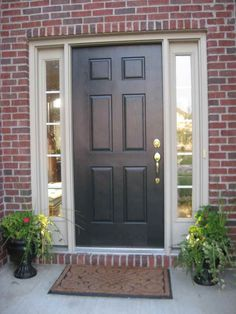 Decoration Design Your Front Door with Wonderful Colors: Awesome Front Door Decoration With Black Style Also Chrome Knob And Red Brick Decoration Ideas