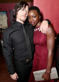 Norman Reedus & Danai Gurira at 'The Walking Dead' Deadline panel at the Egyptian Theater on Monday, April 20, 2015 in Los Angeles