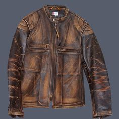 "Front of a Levi Strauss ""Bonneville Cafe Racer"" jacket Motorcycle Leather, Biker Leather, Leather Men, Motorcycle Jacket, Leather Jackets, Distressed Leather Jacket, Vintage Leather, 50 Fashion, Mens Fashion"