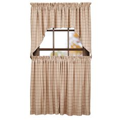 """A fresh look on lodge living, Tacoma window treatments feature a red plaid on light tan. Swag, tiers, prairie swags, prairie curtains, balloon valances, and 72"""" valances, and 84"""" panels are also available in this pattern."""