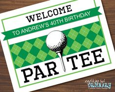 Printable Golf Party Welcome Sign Editable Golf by ABOcustomDesign