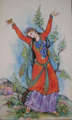 girl dance painting by Behram Taheri Dance Paintings, Exotic Dance, Ottoman, Persian Culture, Iranian Art, Turkish Art, National Art, Art Challenge, Calligraphy Art