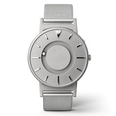 Created by US design company Eone, The Bradley is a revolutionary tactile timepiece designed for everyone to wear. Originally developed for blind people, The Bradley contains a magnet that rotates two ball bearings around the watch face allowing users to tell the time without needing to look — the front ball indicates minutes, while the rear ball shows the hour.