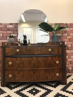 Vintage Upcycled Wallnut & Black Dressing Table With Mirror Art Deco Style Dressing Table Upcycled, Art Deco Dressing Table, Dressing Table Mirror, 1950s Furniture, Upscale Furniture, Mid Century Furniture, Furniture Design, Black Dressing Tables, Vintage Dressing Tables