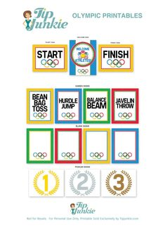 The Winter Olympics is coming up and a perfect time to host an Olympic birthday party or Olympic themed event. Use these 11 free Olympic event signs and print… Olympic Idea, Olympic Games For Kids, Fun Activities For Kids, Kids Olympics, Summer Olympics, Relay Games, Summer Camp Themes, Kids Events, Games