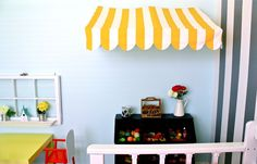 Bistro Awning MINI-Tutorial Also check out the repurposed window on the left side. Add to house area without the glass