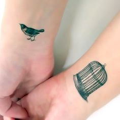 Small Birdcage on Wrist Tattoo Idea