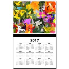 Floral Collage Abstract Mosaic Calendar Print by Khoncepts