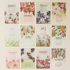 2015 XL Wall Calendar by 1canoe2 on Etsy - Stylized flowers (stained glass esque)