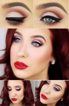 Old Hollywood Glam ~ Jaclyn Hill ~ Love This Pinky Nude Eyeshadow With A Dramatic Black Line, And The Glossy Red Lips