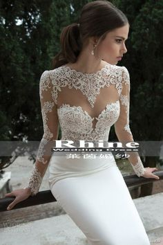 Taobao The most Ailei Si season ~ ~ imported French lace long sleeves satin halter waist fishtail wedding dress