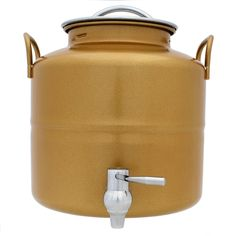 """Aginox 5 Liter Stainless Steel Gold Fusti, 5 Liter. When it comes to long-term storage for liquids, keeping products in their original plastic or glass bottle isn't safe. The high-quality, stainless steel fusti products from Aginox offer safe and effective long-term storage of liquids, such as water, vinegar, honey, alcohol, food-grade oils, and more.  7.75"""" x 7.75"""" x 8"""" with an opening of 4.5"""""""