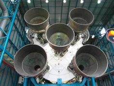 A view of the five Rocketdyne engines on the Boeing built S-IC-T first stage of the Saturn V booster on display at the Kennedy Space Center. Million Pounds of Thrust Wall Stickers Murals, Wall Decals, Dictionary For Kids, Los Kennedy, Guide To The Galaxy, Kennedy Space Center, Florida Usa, Fl Usa, Space Travel