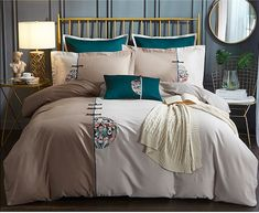 Chinese Embroidery Totem Design Bedding Sets Oriental Decor, Chinese Embroidery, Asian Home Decor, Types Of Beds, Flower Embroidery Designs, Can Lights, Light Beige, Bed Spreads, Cushion Covers