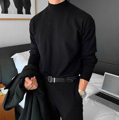 Korean Fashion Men, Boy Fashion, Mens Fashion, Fashion Outfits, All Black Fashion, Mode Streetwear, Streetwear Fashion, Stylish Mens Outfits, Casual Outfits