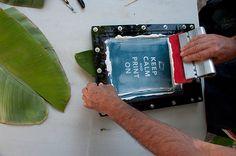 Silkscreen Printing on Banana Leaves 019