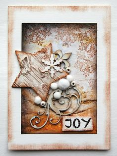 Joy, handmade Christmas card.