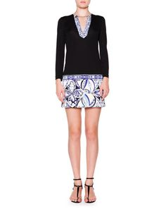 3/4-Sleeve Chain V-Neck Dress, Nero (Black) by Emilio Pucci at Neiman Marcus.