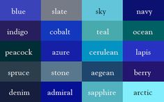 Blues from the Color Thesaurus by Ingrid Sundberg - more literary color as data