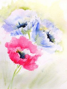 "Poppies To Remember ... | 6"" x 8"" Watercolor Arches 140#CP I… 