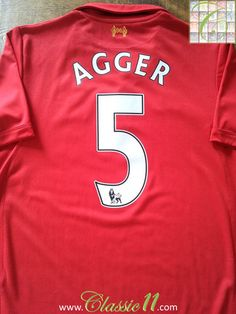381fb860ae0 Relive Daniel Agger s Premier League season with this vintage Warrior Liverpool  home football shirt.