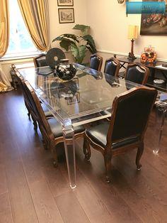 Lucite Acrylic dining table - TAVOLI PRANZO IN PLEXIGLAS | Tavolo trasparente in plexiglas LV1   | Tavolo plexiglass cm.250 x 120h.76 - telaio sp.mm.60 - gambe sez.mm.80