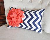 Coral Flower on Navy Chevron Lumbar Pillow