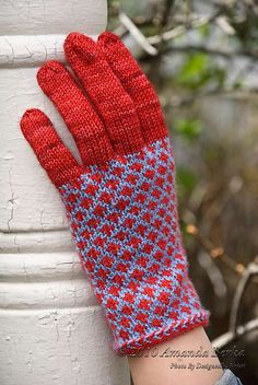 Ravelry: Firecracker Gloves pattern by Amanda Berka. I can't find this pattern ANYWHERE so I guess I'll just have to enjoy looking at them...sigh.