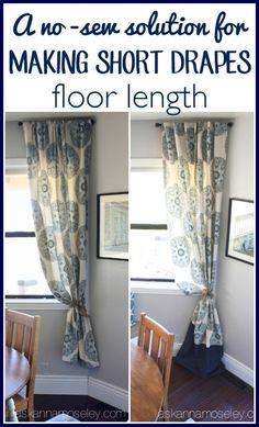 A No Sew Way To Make Short Drapes Floor Lenght