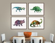 Delightful Dinosaur Art Print Set Of 4 Prints Dinosaur Poster Dinosaur Wall Decor Dinosaur  Wall Art Watercolor Dinosaur Kids Room Decor Nursery USD) By MiaoMiaoDesign Part 31