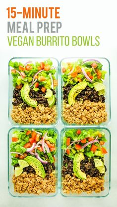 Tofu Burrito Bowl Meal Prep – Easy and FAST vegan meal prep recipe using tofu. This is one of my favorites to pack for lunch. Cheap meal p. Vegetarian Meal Prep, Vegan Meal Plans, Healthy Meal Prep, Healthy Protein, Meal Prep For Vegetarians, Eating Healthy, High Protein Vegan Meals, Vegetarian Lunch Ideas For Work, Dinner Healthy